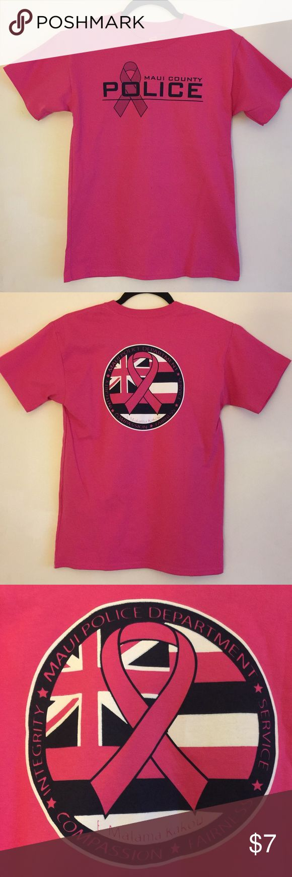 Maui County Police Tee New never worn Maui County Police Breast Cancer Awareness Commemoration Tee. This is a youth large made of 100% pre shrunk cotton. Small mark on the front (see pic 4). Hanes Shirts & Tops Tees - Short Sleeve