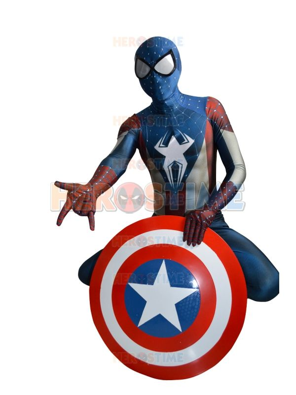Hot Sale Captain Spiderman Cosplay Costume Spandex Zentai Suit for Halloween Party