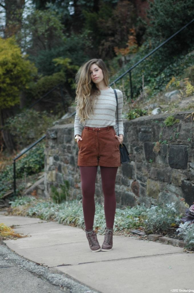 Corduroy Shorts And Tights Brown Top Stripes Fashion