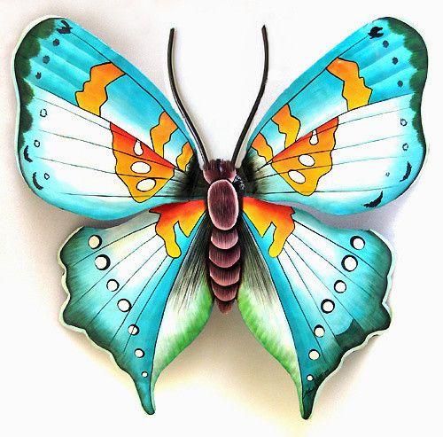 Hand Painted Metal Aqua Butterfly Wall Hanging Outdoor Garden Decor Tropical Decor 34 X 40