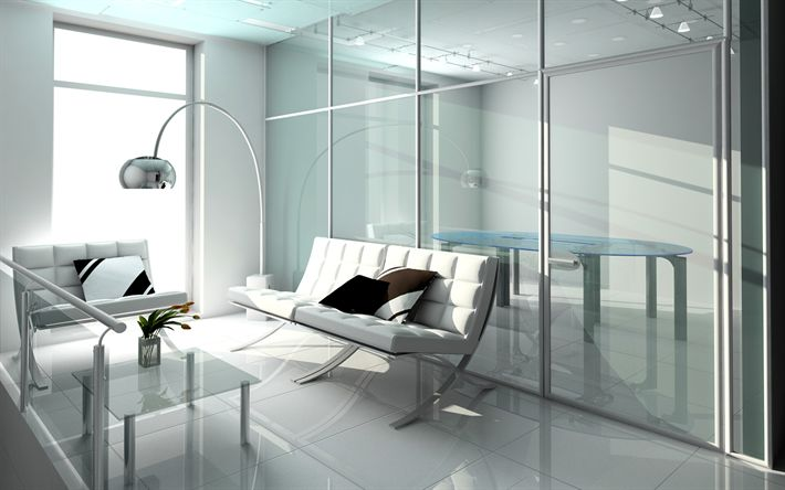 Download wallpapers modern bright interior, office, white design, interior of the psychologist office, white leather sofa, glass wall