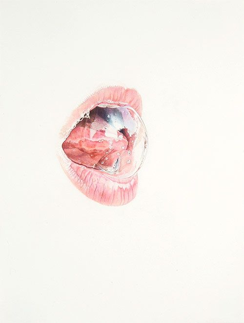 Julia Randall. Colored pencil pieces depicting human tongues in their various formations.