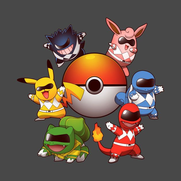 GO GO POKE RANGERS 2.0 T-Shirt - Pokemon T-Shirt is $11 today at TeeFury!