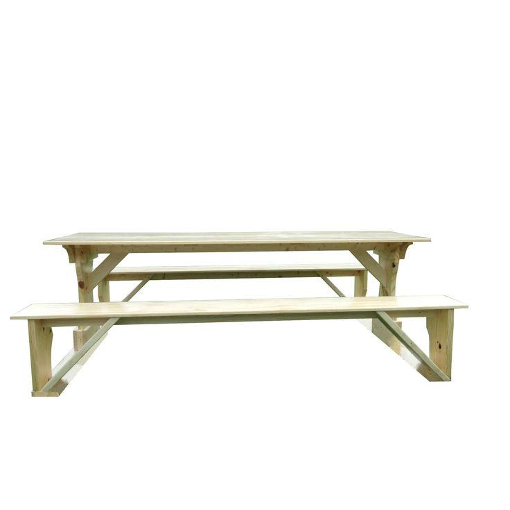 Commercial Grade Indoor Outdoor White Cedar Pub Trestle Table (4), Tan, Patio  Furniture