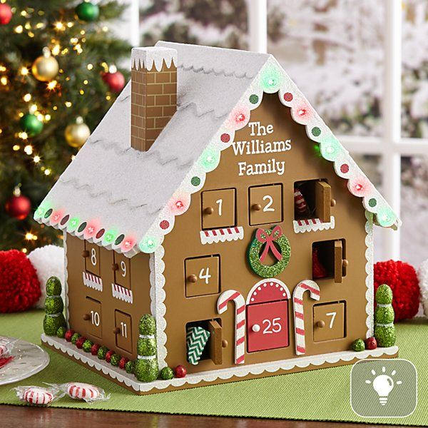 Limited Edition Lighted Gingerbread House Advent Calendar Gingerbread House Personalized Christmas Gifts Diy Christmas Gifts