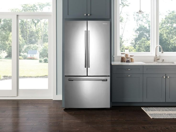 French door refrigerator with ice maker in stainless steel