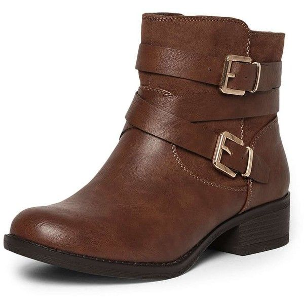 Dorothy Perkins Tan 'Wagon' Wide Fit Biker Boots ($59) ❤ liked on Polyvore featuring shoes, boots, ankle booties, brown, tan boots, brown bootie, bootie boots, wide ankle boots and brown ankle booties