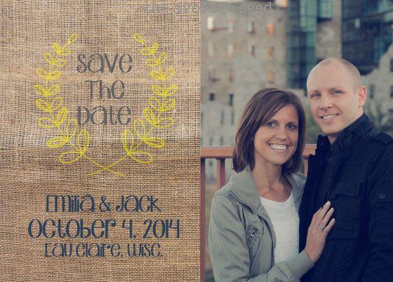 Fall Sunflower Wedding - Burlap Save the Date - 100% customizable