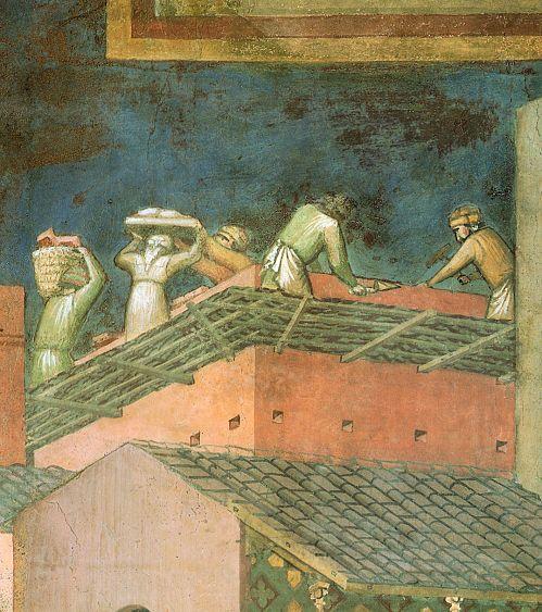 Ambrogio Lorenzetti - Muratori al lavoro (Gli Effetti del Buono Governo in città) - affresco - 1338-1339 - Siena - Palazzo Pubblico, Sala dei Nove o Sala della Pace