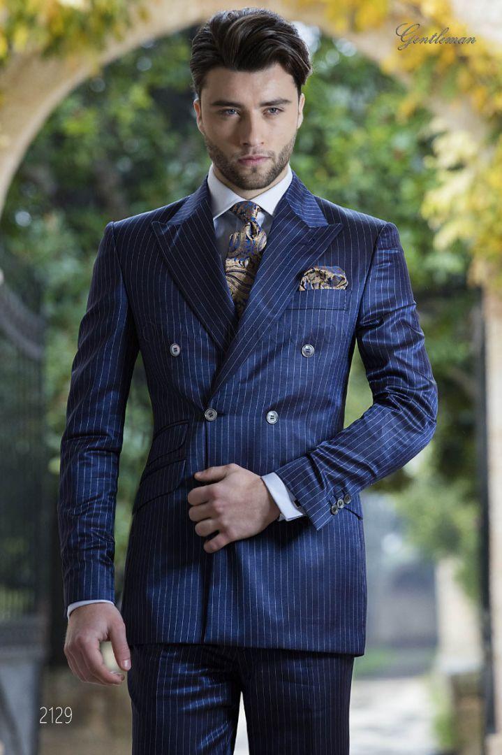 Abito fashion doppiopetto gessato blu royal da sposo  1828671cc79