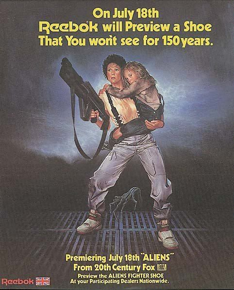 Aliens (1986) and Reebok shoes tie-in advertisement.