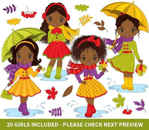 Autumn Girls Clipart, Vector Girls Clipart, African American Clipart