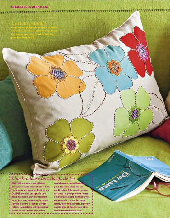 flower applique cushion