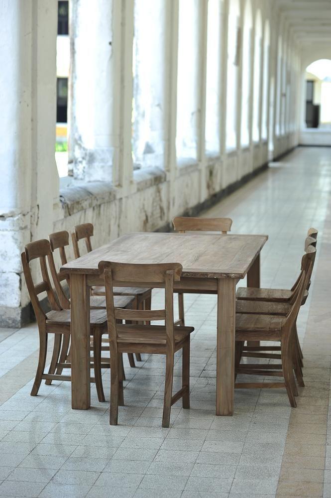 Teak Tisch aus altem Holz 200 x 100 cm Bild 6