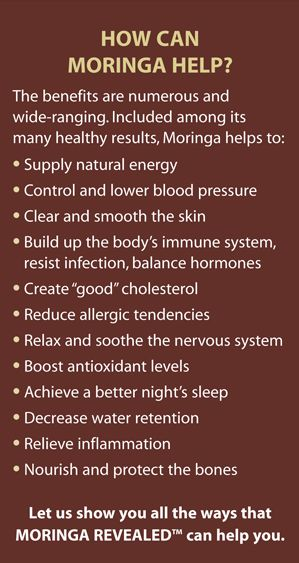 Benefits from the use of our Moringa Product
