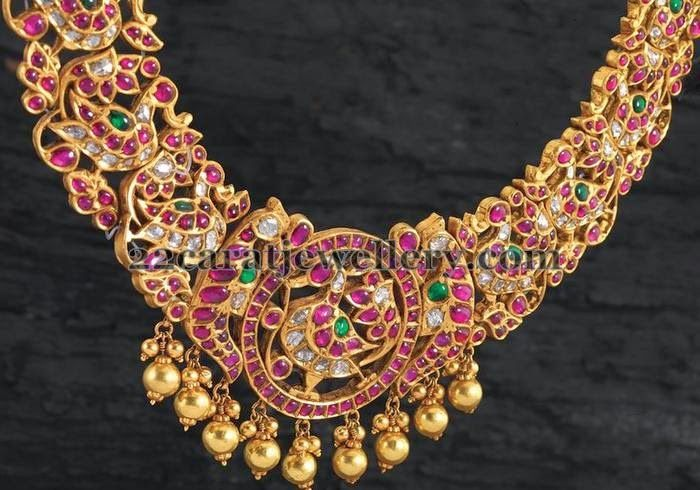 Jewellery Designs: Peacock Mughal Necklace with Rubies