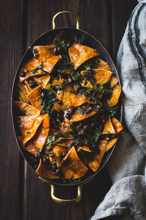 Baked Chilaquiles with Black Beans & Kale