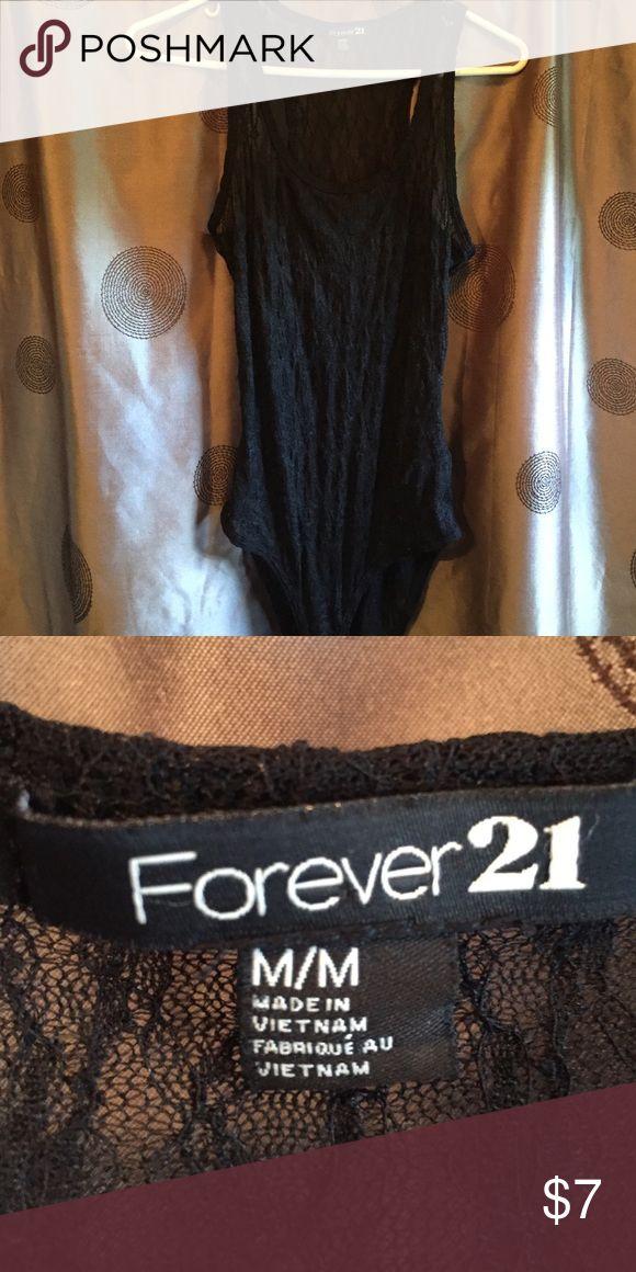 Forever 21 black lace bodysuit Forever 21, black, lace, size medium Forever 21 Tops