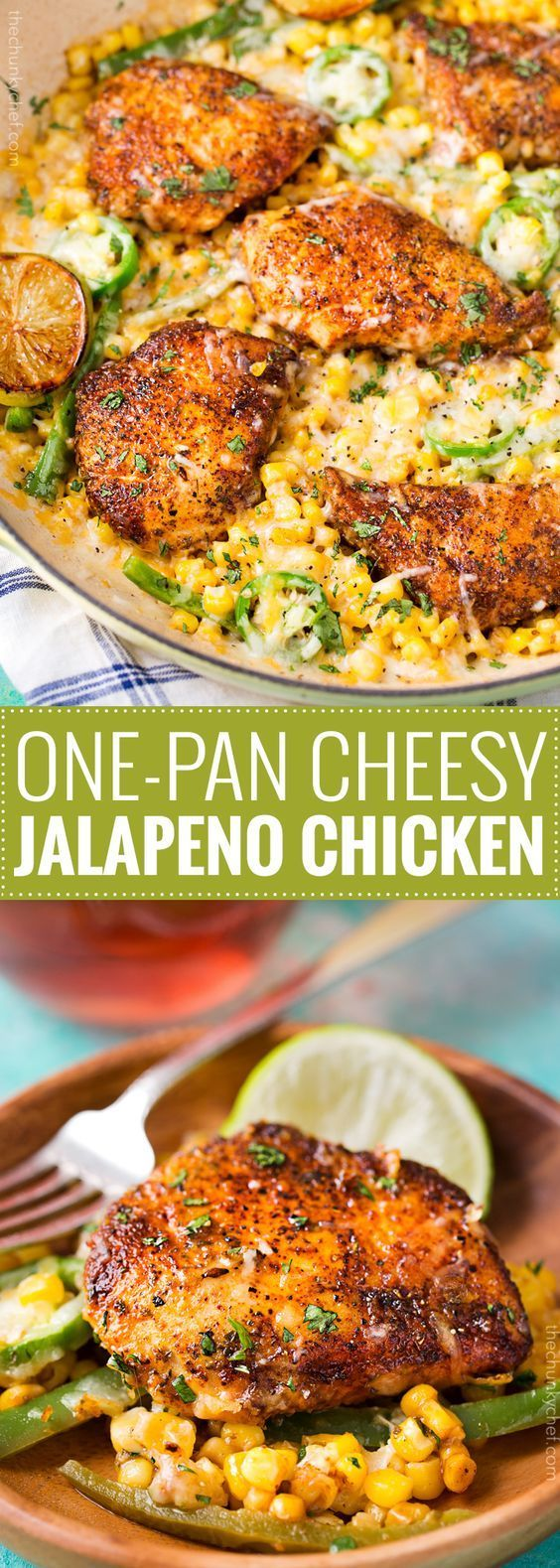 One Pan Cheesy Jalapeño Chicken - An easy weeknight meal, bursting with flavor, smothered in melty cheese, and on your table in 20 minutes!