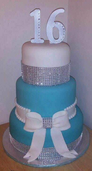 Blue silver rhinestone and bow sweet 16 cake