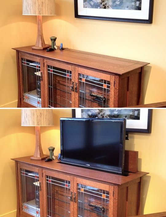 The Television Cabinet Reimagined, Hides Away Screen