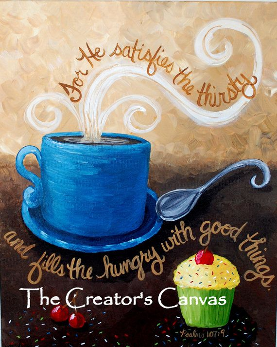 Coffee and Cupcake Original Acrylic Painting with Bible Verse, Scripture Mug, Cup, Tea on Etsy, $95.00