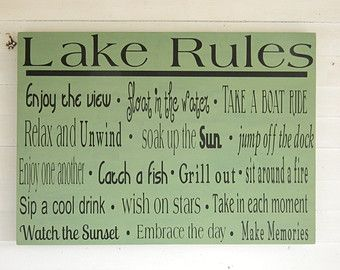 lake rules wooden sign   Sorry, this item sold. Have CountryFolksCreation make something just ...