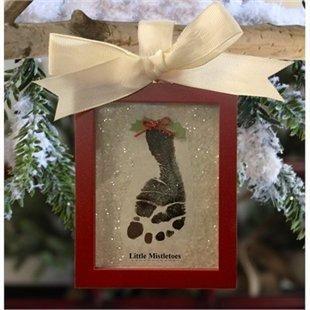 Child to Cherish, Gift Set, Little Mistletoes - Footprint Keepsake, Wooden Frame Ornament, No mess kit.