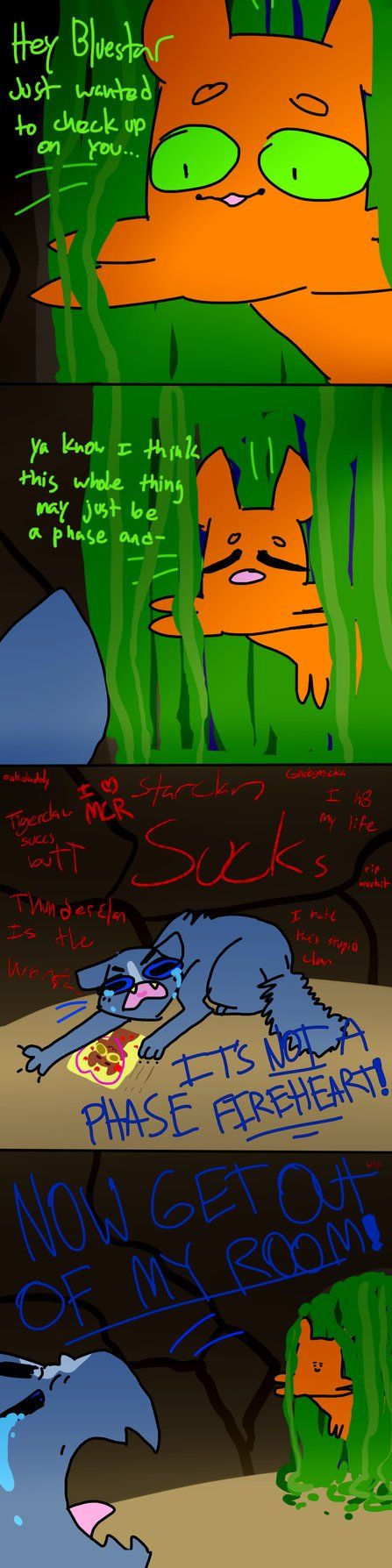 Oh I remember the book when I actually hated Bluestar, believe it or not, when she was a shell of her former self. I hated that she declared a war against StarClan. At least right before she died she regained her confidince and belief in StarClan. Sorry if you like Bluestar. May StarClan light your path!