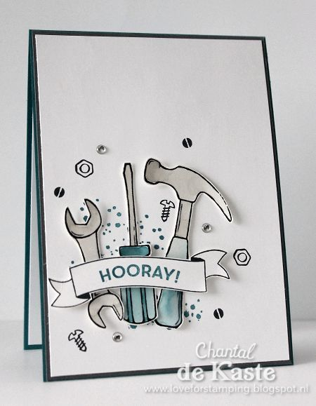 Masculine card with the new Nailed It stampset ~ Chantal de Kaste