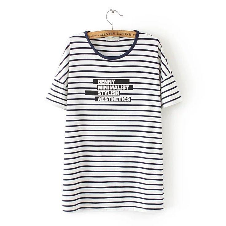 3XL 4XLwomen summer T-shirts2016 strip word printed cotton plus size T-shirt  european casual vintage white big t-shirt19