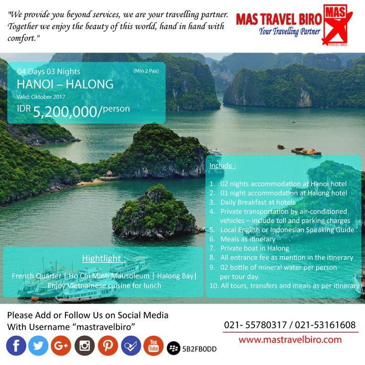 Vietnam lagi banyak promo nih traveler, buruan booking! Promo tour Hanoi - Halong untung 4 Hari 3 Malam. Harga dimulai dari Rp 5.200.000   Buruan booking! Phone : 021 55780317 WA : 081298856950 Email : tourhotel.metos@mastravelbiro.com   #mastravelbiro #Promotour #hanoi #vietnam #promotravel #travelagent #tourtravel