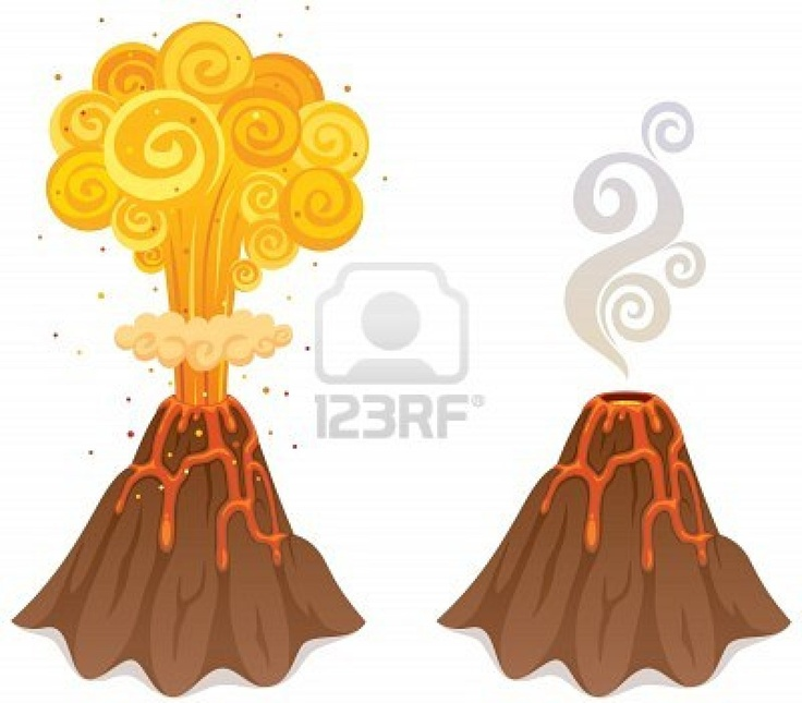 Cartoon illustration of a volcano in 2 versions. No transparency used. Basic (linear) gradients.  Stock Photo