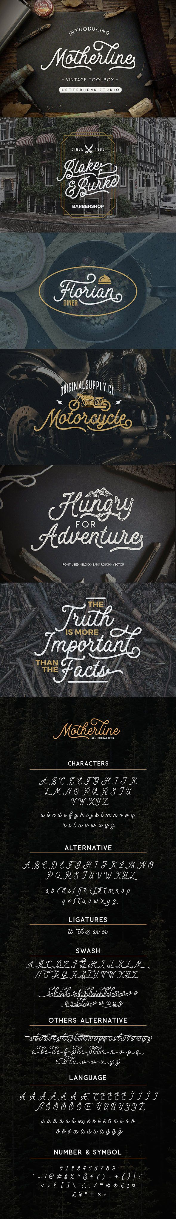 Motherline Vintage Font — TrueType TTF #adventure #wordmark • Download ➝ https://graphicriver.net/item/motherline-vintage-font/19460056?ref=pxcr