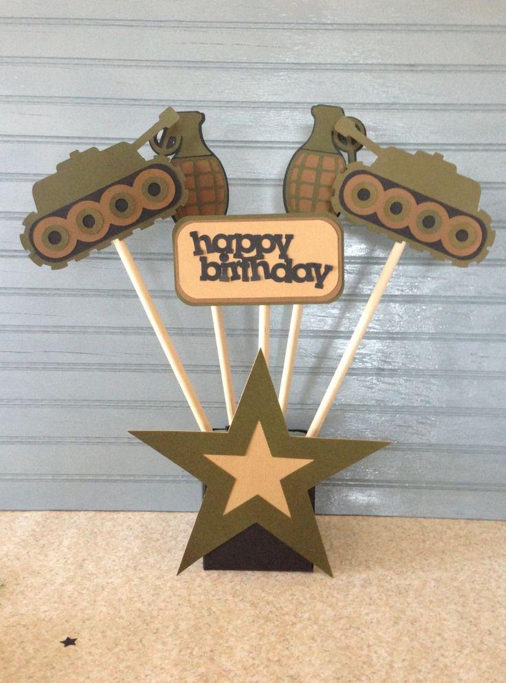 Ejército cumpleaños centro de mesa
