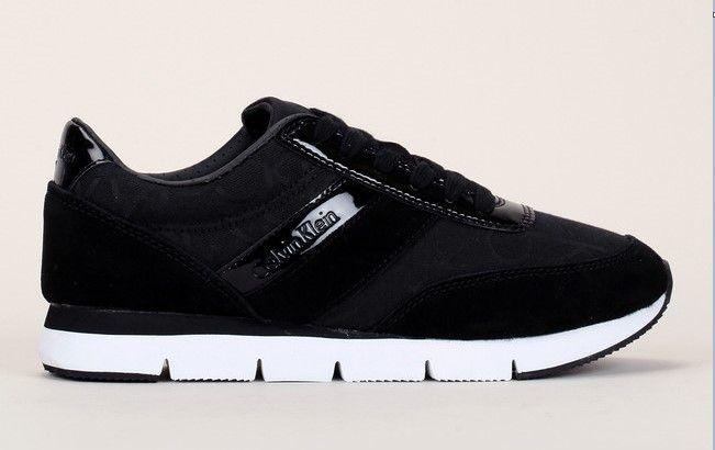 Sneakers noires Tea CK logo Calvin Klein Jeans en jacquard et empiècement en cuir suede