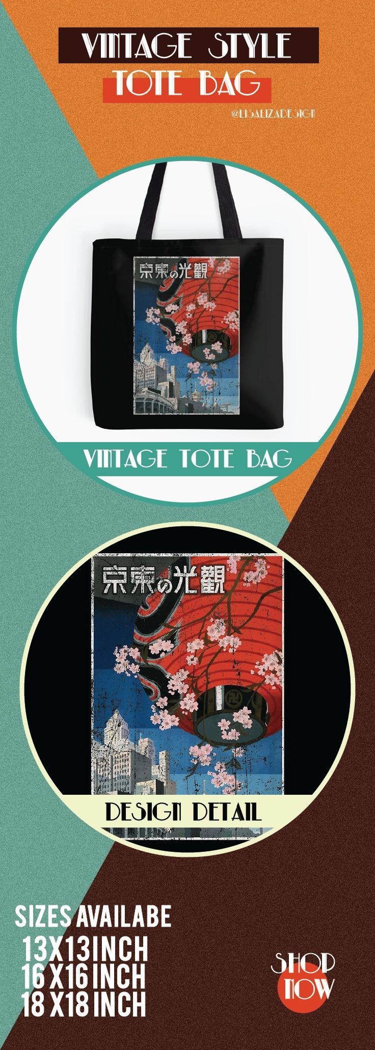 Vintage Travel Poster, Aged and Weathered - Tokyo Japan 1930s.  ToteBags  A collection design inspired by vintage travel and advertisements posters  from the late 19th century printed on durable tote bags. 3 Sizes available .  Excellent gift ideas for vintage lovers and everyone. #vintage #hugs #holidaygift #oldies #homedecor #retro #travelposter #totebag #redbubble #teepublic #lisalizadesign #vintageposter #oldies