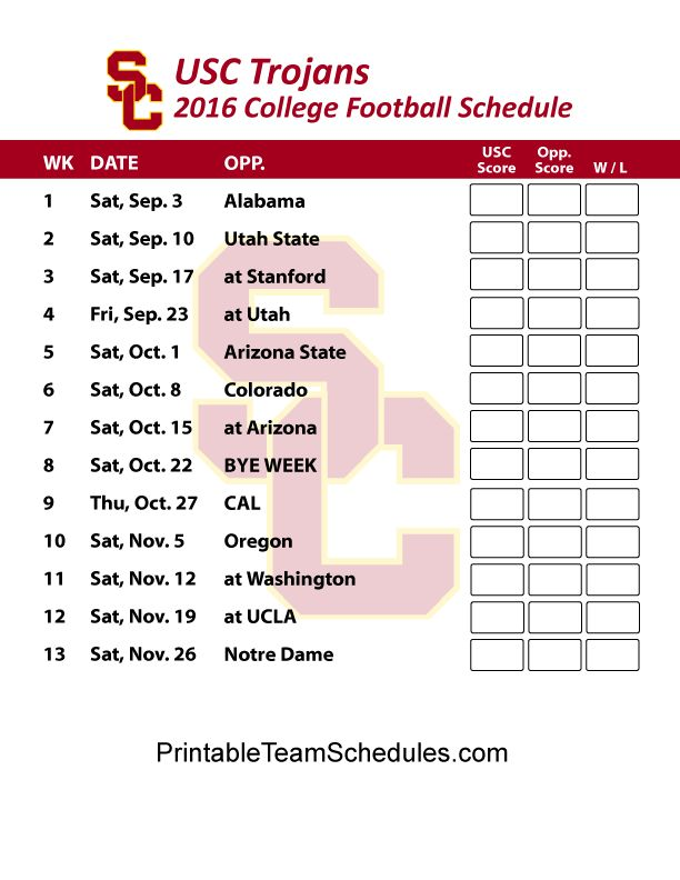 USC Trojans Football Schedule 2016. Print Schedule Here - http://printableteamschedules.com/collegefootball/usctrojans.php