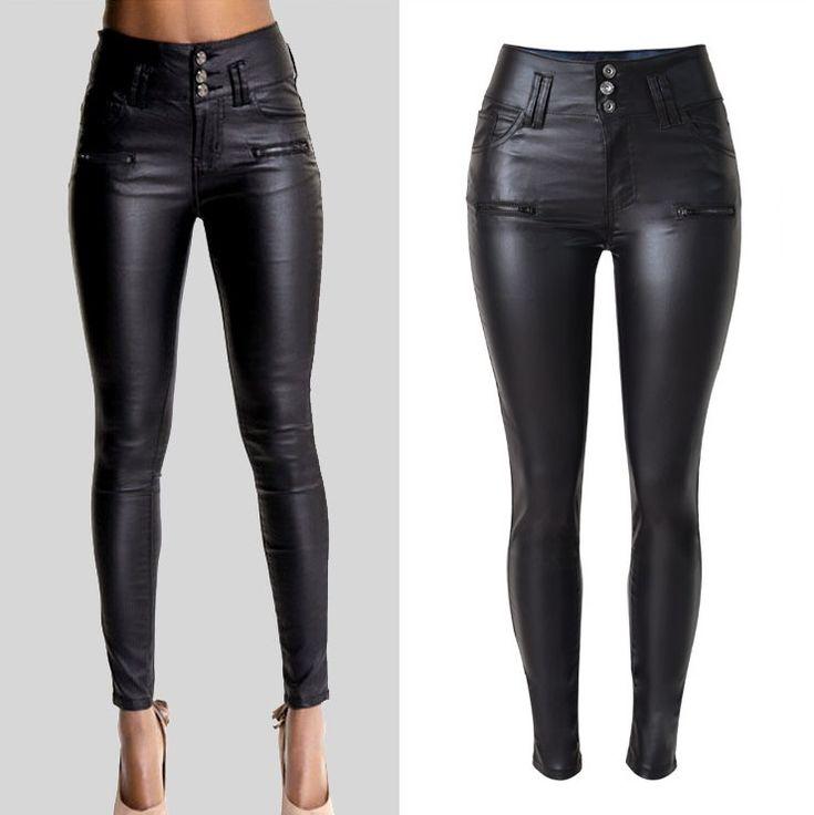Plus Size Stretchy Black Faux Leather Pants