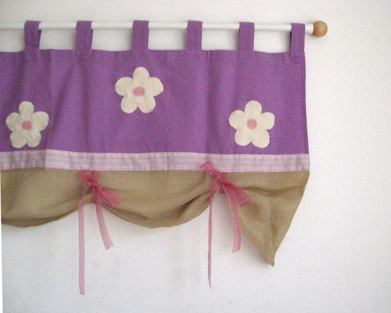 Flower purple lilac linen tab top window treatment curtain valance  Modern floral spring summer lavender girls room baby nursery decor