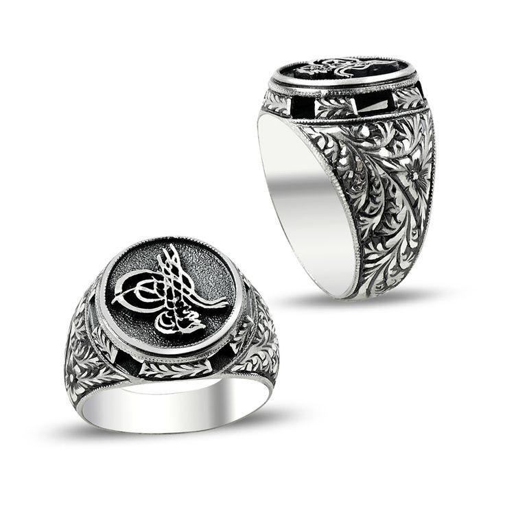 Osmanlı Tuğralı Erzurum El İşi Gümüş Erkek Yüzüğü