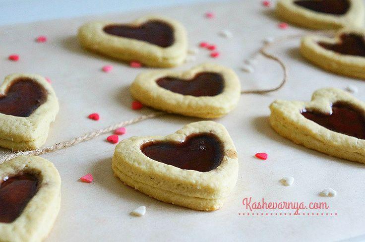 Печенье в форме сердечек с желе