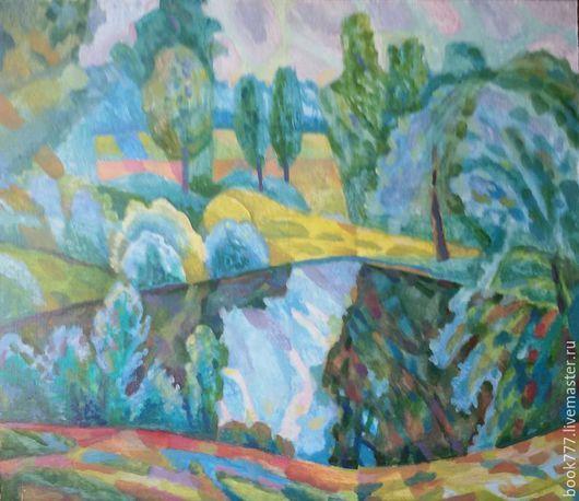 Пейзаж ручной работы. Ярмарка Мастеров - ручная работа. Купить Летний зной  ---  ( Поэзия пейзажа ). Handmade. Голубой