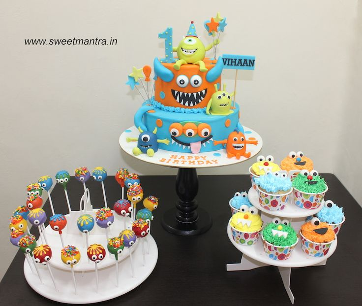Cute Monsters theme colorful dessert/sugar table for boy's 1st birthday at Sinhagad, Pune