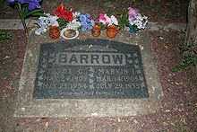 Clyde and Buck Barrow's grave, inscribed with: Gone but not forgotten