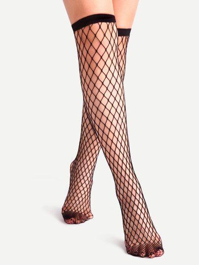 d81c716aa5a Black Fishnet Hollow Out Semi High Socks