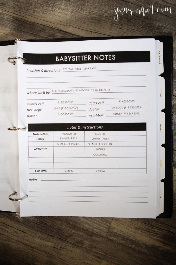 Editable Babysitter Notes printable for your Homekeeping Binder