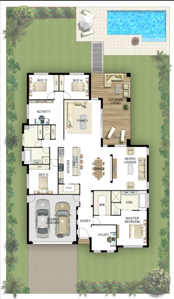 5 bedroom potential. I like the media room placement and there's a study. I like the master up front and the other bedrooms in the back.