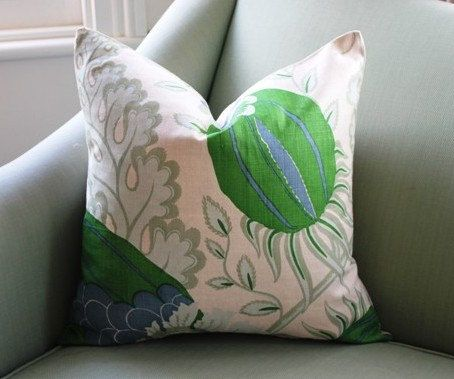 Carnival by Christopher Farr is an iconic fabric. Its just amazing. I loved it so much I used it on the headboards in my guest bedroom. The blue in it is tricky to match. I have a wonderful mid blue velvet that works well. The other floral fabric you see here is called Raij. The blue in it matches the blue in Carnival. I used raij on my curtains in tje guest bedroom. This listing is for 1, single sided cover. Just choose your dimension from the drop down box.  * Knife edge * Serged…