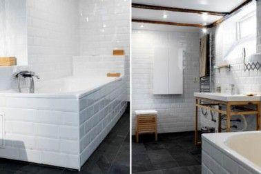 Salle de bain carrelage blanc sur murs et tablier for Pose carrelage salle de bain baignoire